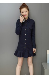 KDS053175391L Mermaid long sleeves denim dress ACTUAL PHOTO
