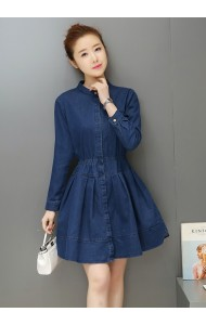 KDS053106397L Long sleeves skater denim dress ACTUAL PHOTO