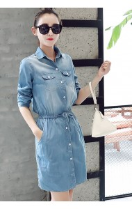 KDS053167559D Long sleeves drawstring soft denim dress ACTUAL PHOTO