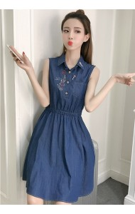 KDS053155916E Embroidery floral soft denim dress ACTUAL PHOTO