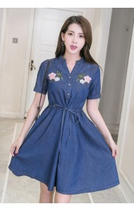 KDS053153596F Embroidery floral soft denim dress ACTUAL PHOTO