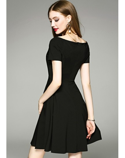 BDS060610983H Off shoulder skater black dress ACTUAL PHOTO