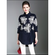 BTP060655073H Linen embroidery bat wing blouse ACTUAL PHOTO
