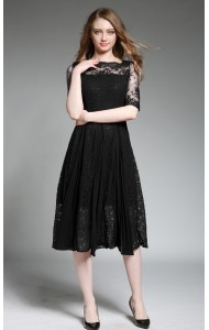 BDS060638397H Chiffon lace skater dress ACTUAL PHOTO