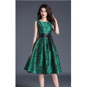 BDS060766865J Jacquard skater dress in green ACTUAL PHOTO