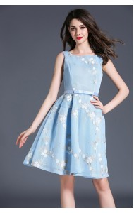 BDS060926863J Netting embroidery floral dress ACTUAL PHOTO