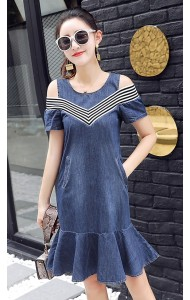 KDS061831884Y Off shoulder denim mermaid dress ACTUAL PHOTO
