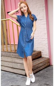 KDS061812987J V neck soft denim dress ACTUAL PHOTO
