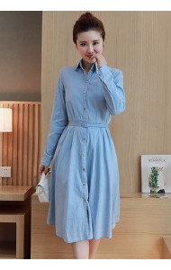 KDS061892183C Long sleeves soft denim dress ACTUAL PHOTO