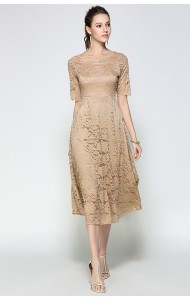 BDS061977063A Off shoulder lace midi dress ACTUAL PHOTO