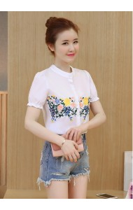 KTP62282513B Embroidery puff sleeves wawa top ACTUAL PHOTO