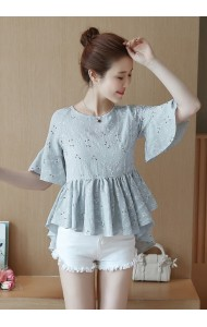 KTP062213518B Embroidery trumpet sleeves irregular top ACTUAL PHOTO