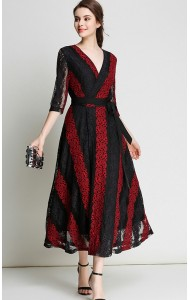 BDS062878735S V neck embroidery lace dress ACTUAL PHOTO