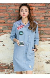 KDS07060698W Stripes shirt stitching soft denim dress ACTUAL PHOTO