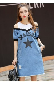 KDS07063692W Off shoulder MAISON soft denim dress ACTUAL PHOTO