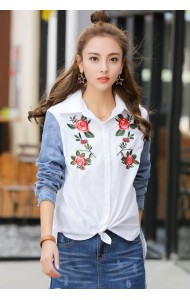 KTP07061395W Embroidery denim shirt ACTUAL PHOTO