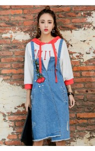 KDS07066695W Embroidery denim jumpsuit skirt ACTUAL PHOTO