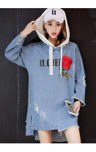 KTP07061697W Embroidery denim hoodie ACTUAL PHOTO
