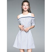 BDS0708009D Off shoulder belted stripes dress ACTUAL PHOTO