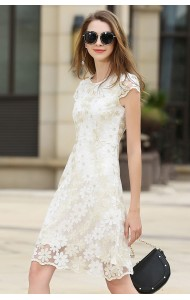 BDS071007394H Petite Embroidery floral lace dress ACTUAL PHOTO