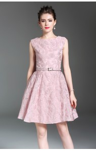 BDS071001498H Jacquard belted pink dress ACTUAL PHOTO
