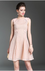BDS071090492H Embroidery checked dress with bow ACTUAL PHOTO