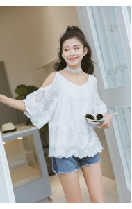 KTP09115432W Off shoulder crochet lace blouse ACTUAL PHOTO