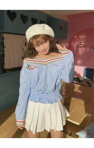 KTP071167354B Off shoulder stripes embroidery blouse ACTUAL PHOTO