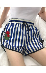 KPT071221065X Stripes embroidery shorts ACTUAL PHOTO