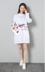 KDS07128083X Plus size embroidery 3D butterfly shirt/dress ACTUAL PHOTO