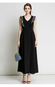 BDS07180023M Pleated dress with embroidery sleeves ACTUAL PHOTO
