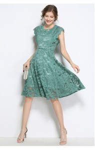 BDS07185223M Lace dress with scallop sleeves ACTUAL PHOTO