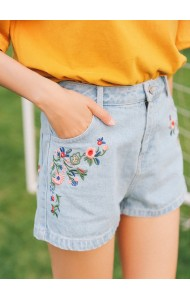 KPT07256881W Embroidery floral denim shorts ACTUAL PHOTO