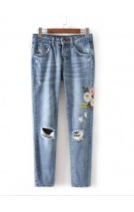 KPT0801002C Embroidery rip floral skinny jeans ACTUAL PHOTO