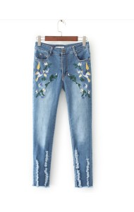 KPT0801004C Embroidery floral skinny rip jeans ACTUAL PHOTO