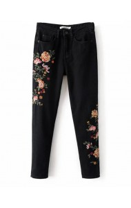 KPT0801005C Embroidery floral skinny jeans ACTUAL PHOTO