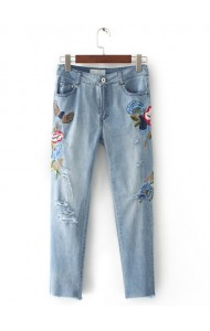 KPT0803001C Embroidery floral rip skinny jeans ACTUAL PHOTO