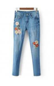 KPT0803004C Embroidery bird rip skinny jeans ACTUAL PHOTO