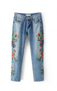 KPT0803005C Embroidery floral jeans ACTUAL PHOTO