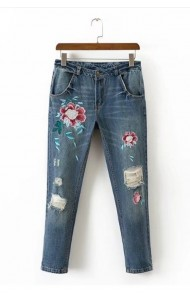 KPT0803006C Embroidery floral jeans ACTUAL PHOTO