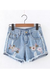 KPT0803007C Embroidery floral shorts ACTUAL PHOTO