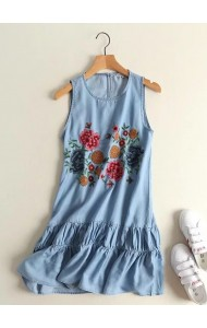 KDS0808001S Embroidery soft denim dress ACTUAL PHOTO