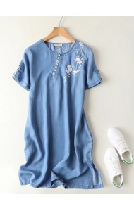 KDS0808002S Embroidery soft denim button dress ACTUAL PHOTO