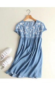 KDS0808003S Embroidery soft denim floral dress ACTUAL PHOTO