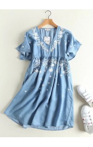 KDS0808004S Embroidery soft denim dress with trumpet sleeves ACTUAL PHOTO