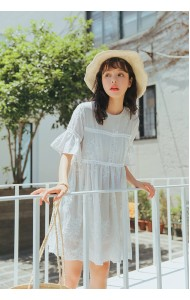 KDS08092272W Embroidery lace dress with trumpet sleeves ACTUAL PHOTO