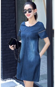 KDS08177065D Slim soft denim dress ACTUAL PHOTO