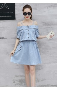 KDS08176175Y Drawstring soft denim dress ACTUAL PHOTO