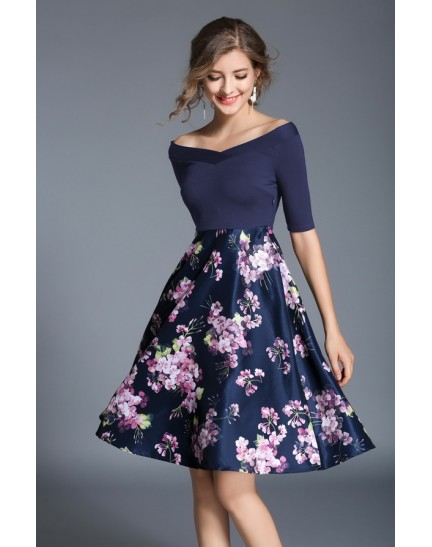 BDS08239249H Off shoulder floral dress ACTUAL PHOTO