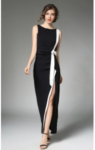 BDS08246249H Slim split  dress with bow ACTUAL PHOTO